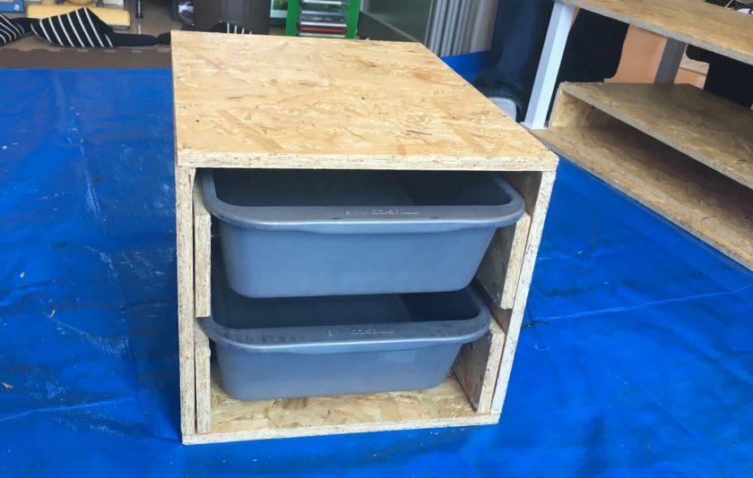 リビングDIY④簡単!OSB材を使って、アイデア収納ボックスを作成!〈武田家〉