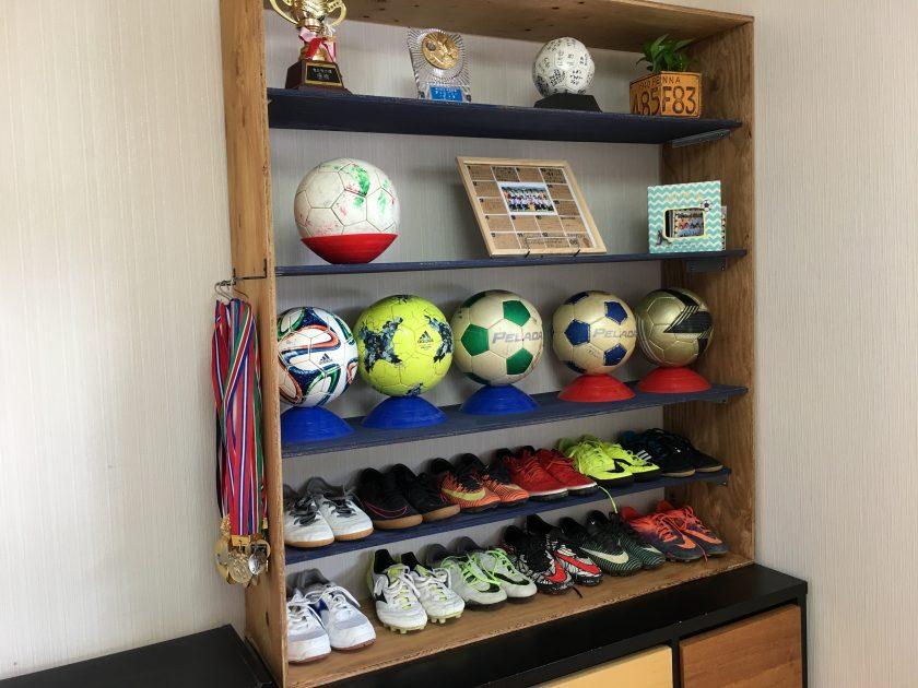 子供部屋の空間を有効活用!サッカー用収納棚できた〈小野家〉