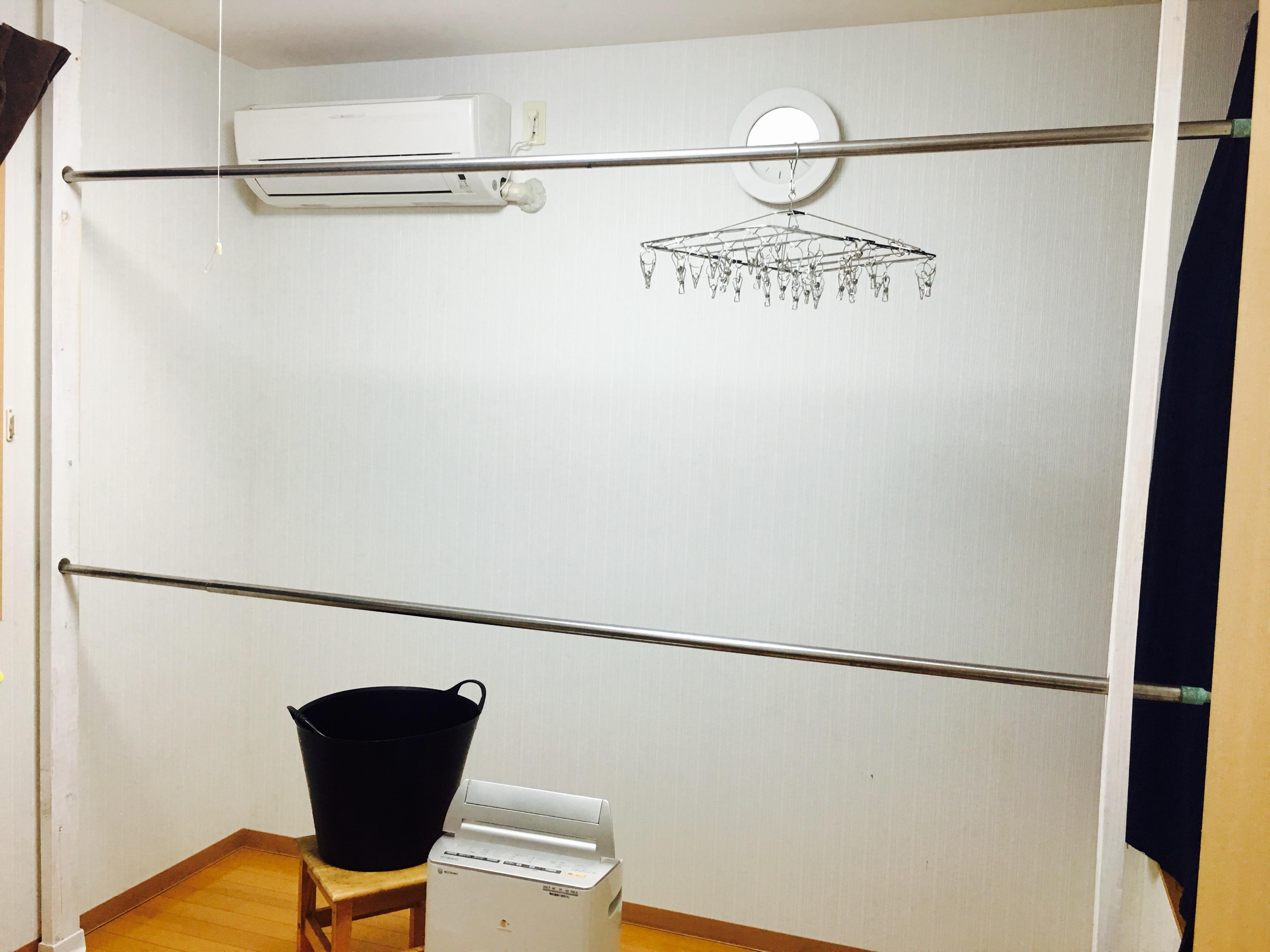 ディアウォールを使って 室内に簡単物干しできました 小野家 高知のみんなのdiy