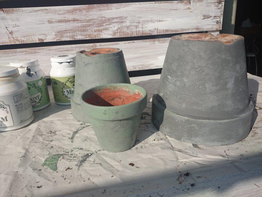 ミルクペイントで植木鉢をいろいろリメイク②〈小松家〉