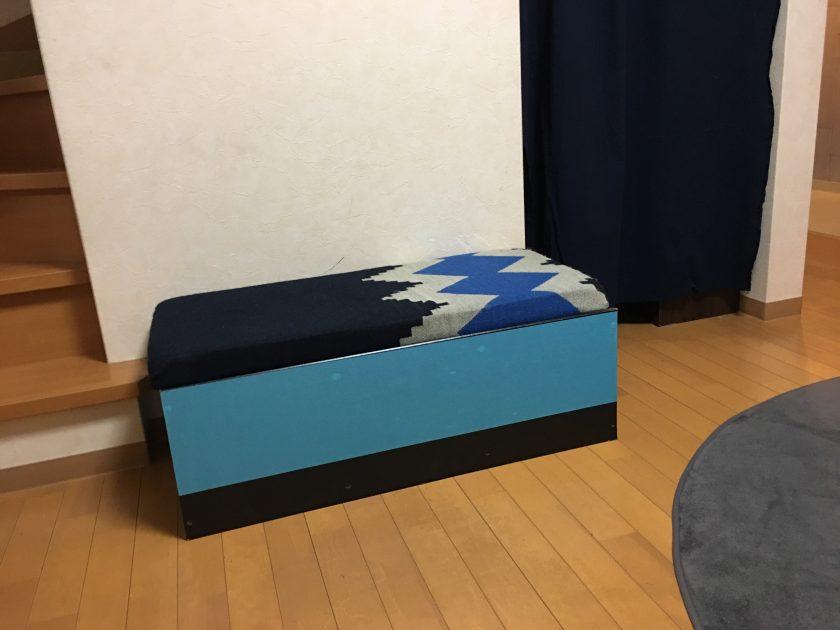 カラーボックスリメイク⑤子供部屋の収納できるクッションベンチ小野家